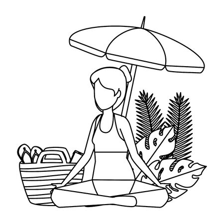 woman practicing yoga with umbrella and summer icons vector illustration design 일러스트