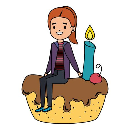 cute little girl seated in cake with candle vector illustration design Standard-Bild - 129793362