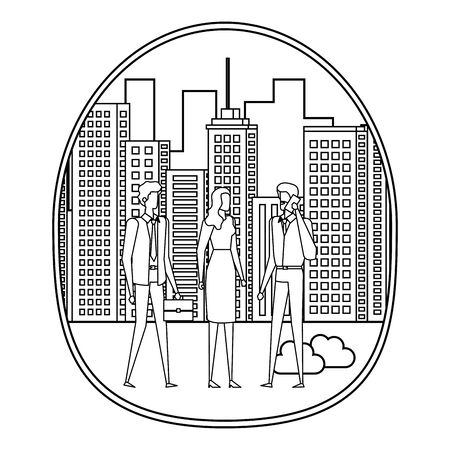 business people using smartphone on the city vector illustration design