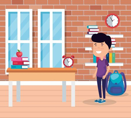 little student boy in the school scene vector illustration design 写真素材 - 129793400