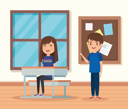 girl and boy children in the education classroom with desk and note board vector illustration