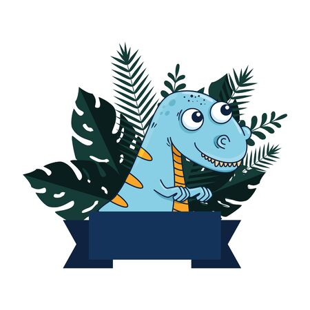 cute tyrannosaurus rex with exotic leafs frame vector illustration design 矢量图像