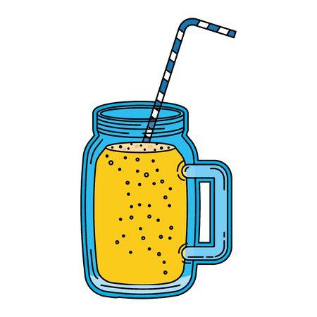 juice fruit beverage jar with straw vector illustration design Archivio Fotografico - 129793675