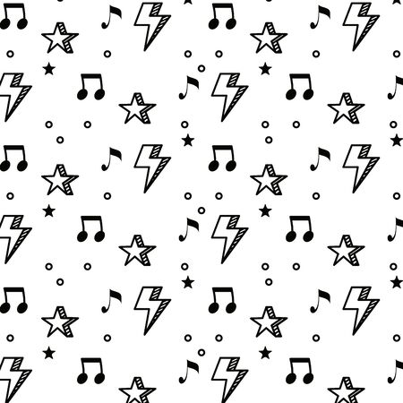 music notes and stars pattern background vector illustration design