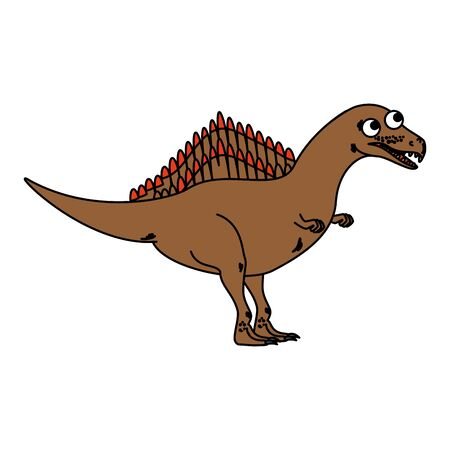 cute spinosaurus comic character icon vector illustration design Illusztráció