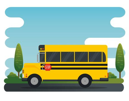school bus vehicle education transport with trees and bsuhes vector illustration Ilustrace