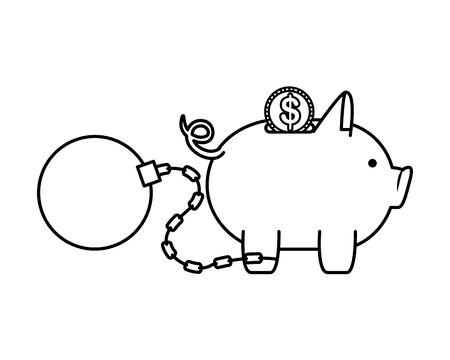 piggy money savings with coin and slave ball vector illustartion design Illusztráció