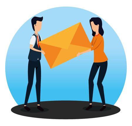 businessman and businesswoman with letter message teamwork to social plan, vector illustration Standard-Bild - 129793726