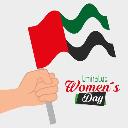 hand with tradional patriotic national flag to emirates womens day, vector illustration