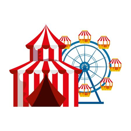 circus tent carnival with panoramic wheel vector illustration design Illustration