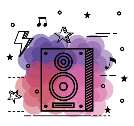 stereo with stars and notes melody with thunder to music style vector illustration