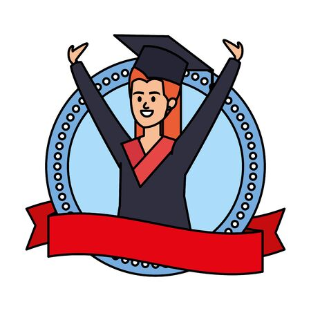 woman student graduated celebrating in emblem with ribbon vector illustration Illusztráció