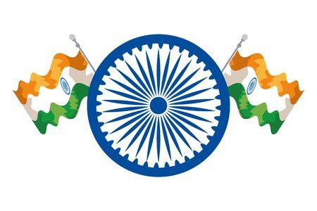 ashoka chakra indian with flags vector illustration design