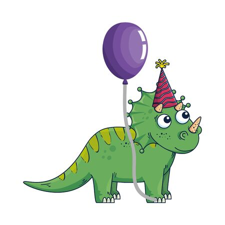 cute triceratops with balloon helium vector illustration design