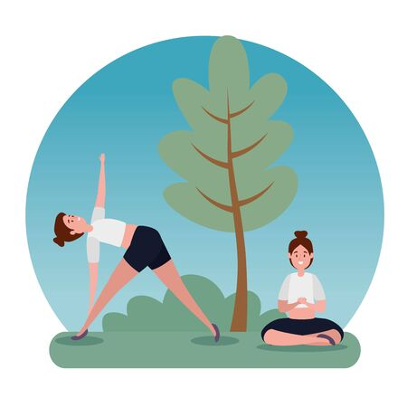 healthy women practice yoga exercise with tree and bushes plant, vector illustration