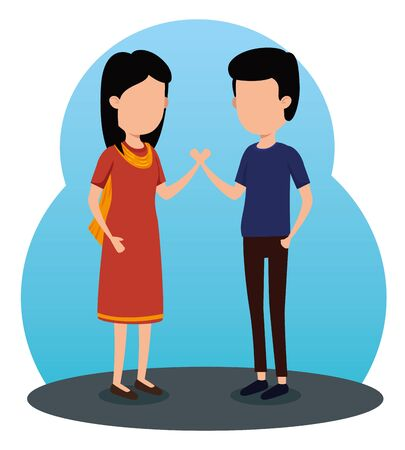 girl and boy siblings celebration event to raksha bandhan, vector illustration