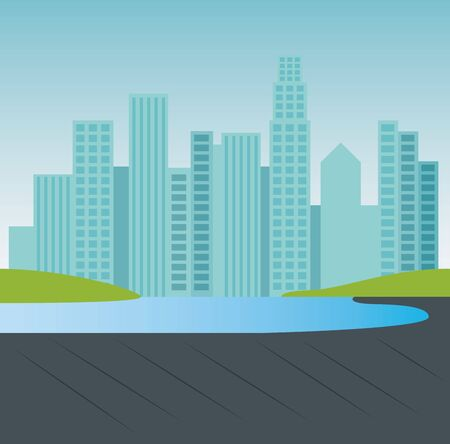 park with nature lake and building cityscape to urban relaxation vector illustration 일러스트