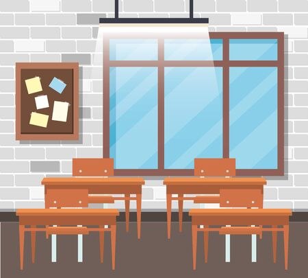 classroom with note board and window with desk to back to school vector illustration