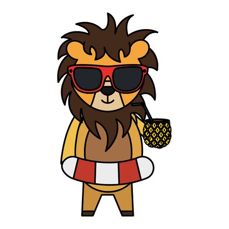 cute lion with float and pineapple cocktail vector illustration design Archivio Fotografico - 129793974