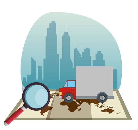 truck and magnifying glass in the global map to delivery service vector illustration Stock Vector - 129793978