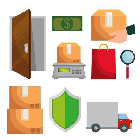 set of delivery service distribution transportation over white background vector illustration Stock Vector - 129794024