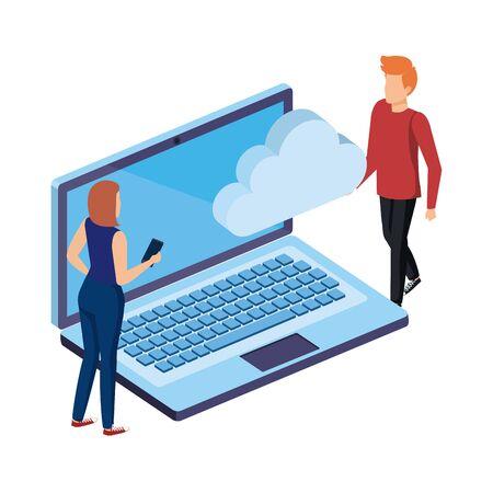 Pareja joven con laptop y computación en la nube, diseño de ilustraciones vectoriales Ilustración de vector