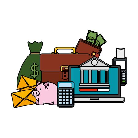 laptop with voucher machine and ecommerce icons vector illustration design  イラスト・ベクター素材