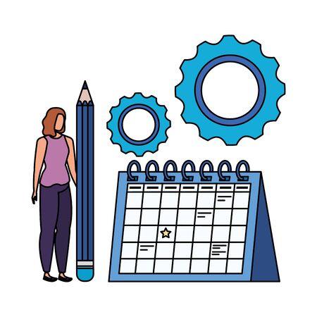 young woman with calendar character vector illustration design Illusztráció