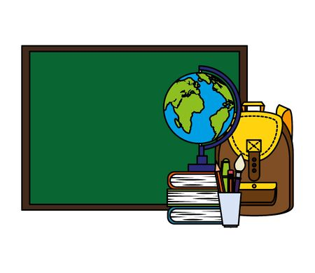chalkboard and world map with supplies vector illustration design  イラスト・ベクター素材
