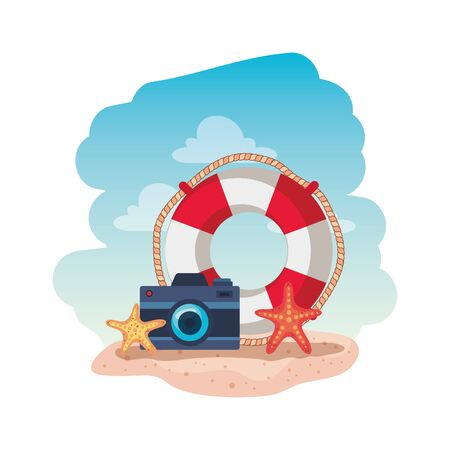 marine float with camera photographic and starfish vector illustration design