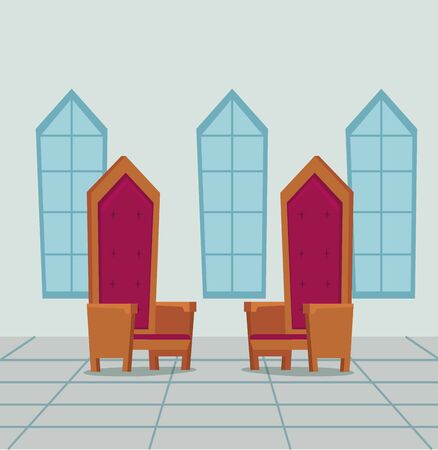 queen and king chairs in the castle with windows to medieval story, vector illustration