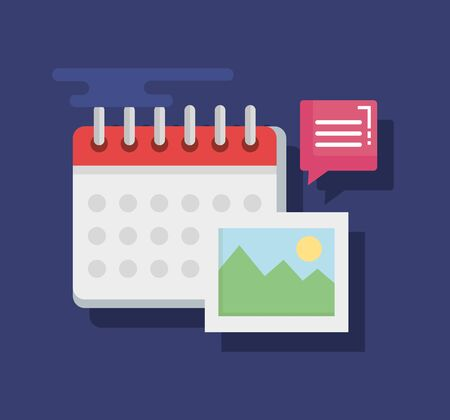 chat bubble news information with calendar and photo vector illustration Illustration