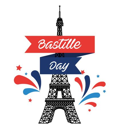 eiffel tower with ribbon decoration to bastille holiday over white background vector illustration Ilustracja