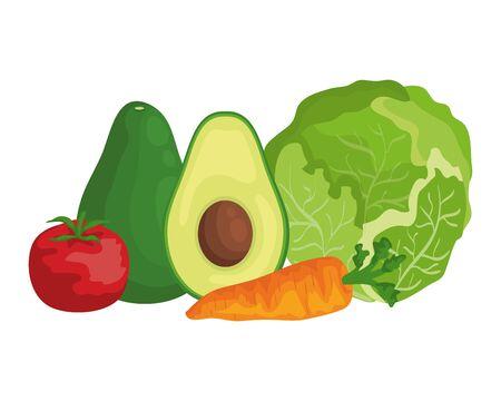fresh vegetables and fruits healthy food vector illustration design 向量圖像