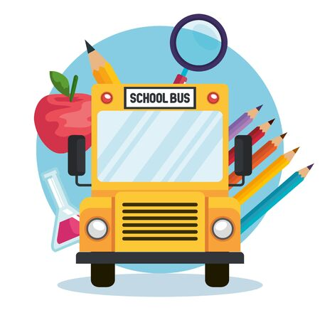 school bus with pencils colors and apple fruit with pencil to back to school vector illustration