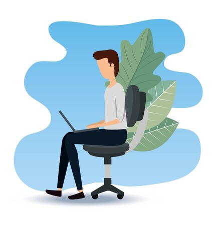 businessman sitting in the chair with laptop and leaves to office data, vector illustration Standard-Bild - 129794088