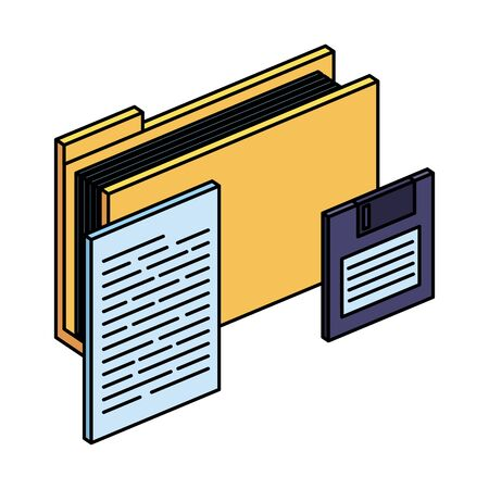 folder with documents files and floppy disk vector illustration design Stock Illustratie