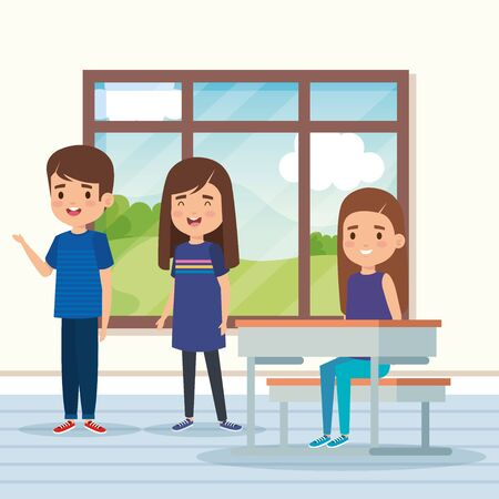 boy and girls children in the academic classroom with desk and window vector illustration