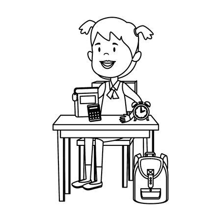 happy student girl with supplies seated in school desk vector illustration design Standard-Bild - 129795018