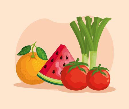 set of delicious fruits nutrition and healthy vegetables over pink background, vector illustration Illusztráció