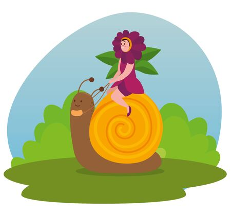 girl flower fairy sitting in the snail and bushes plants to tale character, vector illustration  イラスト・ベクター素材