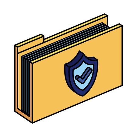 folder documents with shield and ok symbol vector illustration design