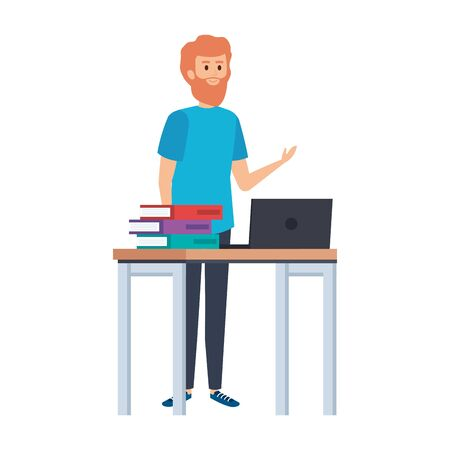 young teacher in desk with laptop and books vector illustration design Illustration