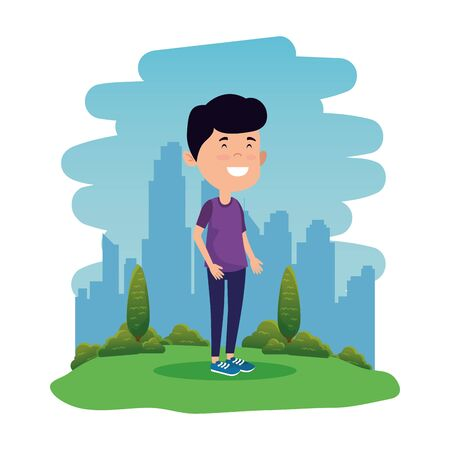 happy student boy in the field vector illustration design