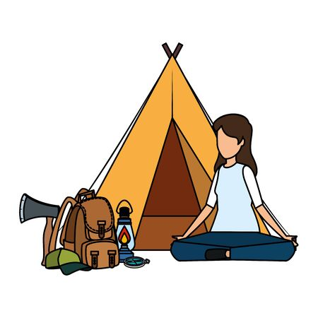 tent camping with woman and travelbag vector illustration design Иллюстрация