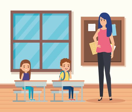 woman teacher in the classroom with kids and window to academic education vector illustration Illustration