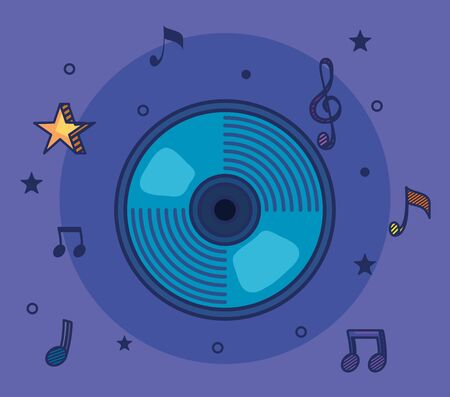 cd with treble clef and quaver with beam notes to music melody vector illustration