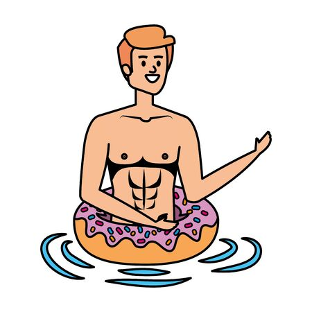 young man with swimsuit and float donut vector illustration design 向量圖像