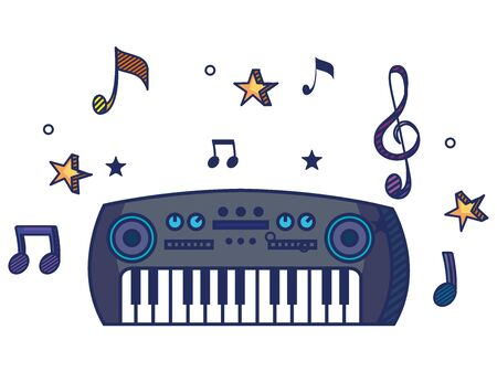 piano instrument with treble clef and quaver with beam notes to music melody vector illustration