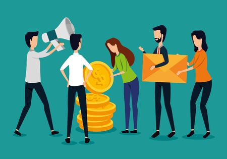 businessmen and businesswomen teamwork with coins and megaphone to strategy plan, vector illustration Stockfoto - 129716417
